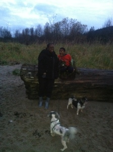 At Sandy Beach with Bailey, Lucky and Jonathan